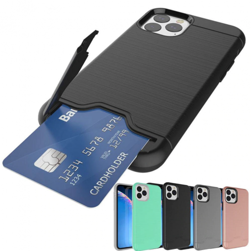 Brushed Armor Card Holder Case for iPhone 11/11 Pro/11 Pro Max